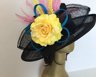 Custom Derby Hat, Black Derby Hat, Tea Party Hat, Yellow Rose,  Formal Hat, Fashion Hat, Church Hat, Derby Hat