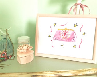 Watercolor art, clutch, water-colours, pink, fashion posters, illustration, gift for her