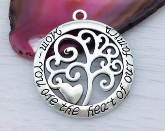 Mothers Day Charm, Message Charm, 2 pcs, Antique Silver, Mom You Are the Heart of Our Family