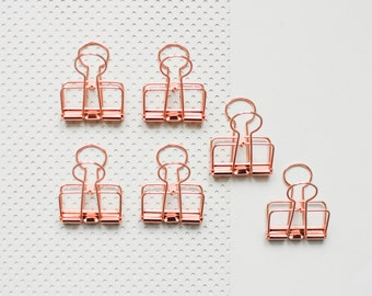 6 Copper Bulldog Wire Clips, copper Foldback Clips, Metal Clips, copper clips