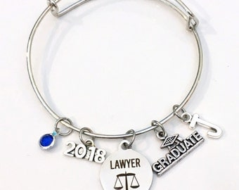 Graduation Gift for Lawyer, Law School Grad 2017 2018 Charm Bracelet, Passing the Bar Association Student Silver Bangle Jewelry Graduate her