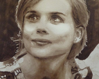 Portrait of Isabelle Carré, original watercolor painting, sepia, French film actress