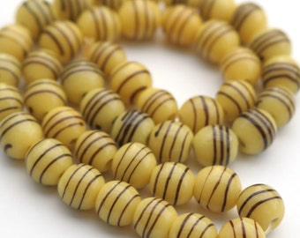 Large Vintage Round Yellow Glass Beads with Brown Design, 1/2 Round Yellow Glass Bead, 12mm Yellow Bead- 45 Pieces