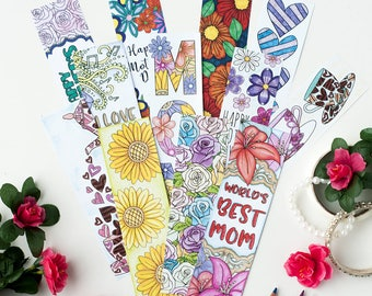 Mother's Day Coloring Bookmarks – 12 Printable Bookmarks for Mom (or Mum) | mom bookmark template | mom coloring page | mothers day coloring