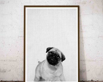 Baby Pugs, Pug Wall Art Print, Modern Minimalist Black and White Animal Print, Dog Pug Art, Pug Digital Print, Pug Print, Modern Pet Decor