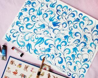 Floral Painting Original Watercolor Art Nursery Art Original painting Blue Art Floral Art Watercolor Painting Original Art Floral Wall Art