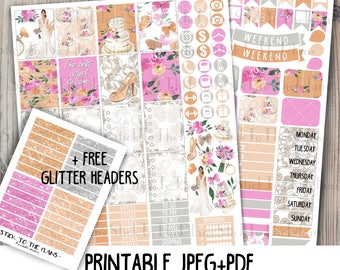 Wedding printable planner stickers for your Erin Condren Life Planner TM watercolor pink coral spring wedding flowers bride cake ring weekly