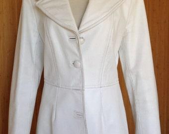 DKNY White Leather 4 Button Jacket/Blazer