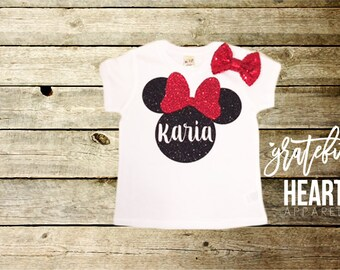 Minnie Mouse shirt, Girls Minnie mouse t-shirt, Personalized Minnie Mouse shirt, Custom disney shirt, Toddler Minnie mouse, Minnie Mouse bow