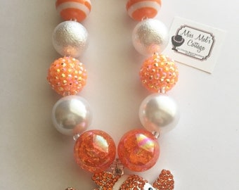 Orange Fish Chunky Bubblegum Bead Necklace