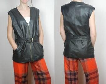 vintage 80's 90's GENUINE LEATHER sleeveless jacket vest S M