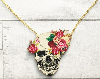 Skull Necklace, Skull jewellery, Sugar Skull, Day of the Dead Necklace, Laser cut jewellery, wooden necklace