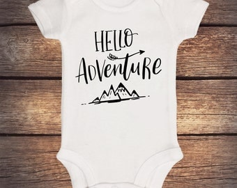 Hello Adventure Onesie - Camping - Wilderness - Take Home Outfit - Baby Shower Gift - Announcement Onesie - Coming Home Outfit - Unique baby