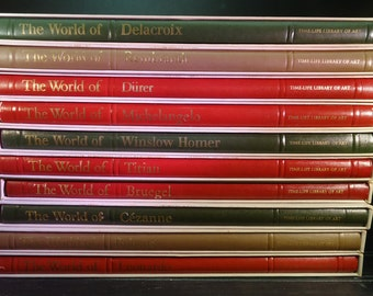 vintage Time Life Library of Art books with cases group of 10
