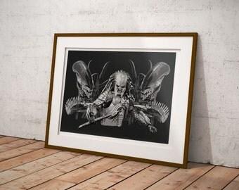 Alien Vs Predator art print, Alien vs Predator poster, alien drawing, Geek art, Alien drawing, Ripley