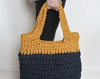 Crochet Tote Bag, shopper bag, laptop bag, navy tote bag, shoulder bag, mustard bag, knitted bag, mothers day gift, buggy bag