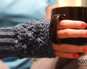 PATTERN Blue Moon Fingerless Gloves | Crochet Textured Fingerless Mittens | Intermediate Pattern | Tutorial | PDF Pattern