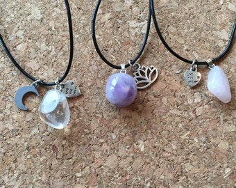 SALE - Gem stone necklace ~ natural stone and lotus/crescent moon charm ~ adjustable leather cord ~ fashion necklace ~ choker