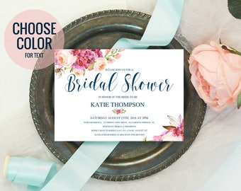 Bridal Shower Invitations, Floral Bridal Shower Decor | Navy Blush + Gold Wedding Shower Invites | Printable Invitation IDWS503_3519C
