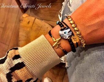 Gold Heart Beat Bracelet,Heart Beat Jewelry, Pulse Bracelet, Evil Eye Bracelet, Gold Circles Bracelet, Gold Bracelets, Evil Eye Charm.