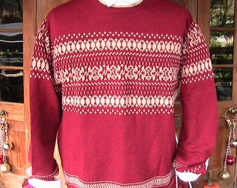 XL Vintage 50s Red and White Ski Sweater