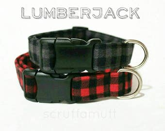 Lumberjack dog collar / Buffalo Plaid Flannel Dog Collar