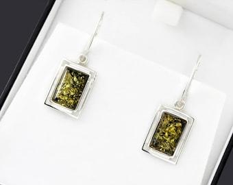Green Earrings For Wife,  Romantic Earrings For Her, Wife Baltic Amber Earrings, Statement Earrings For Wife, Green Stone Earrings For Her