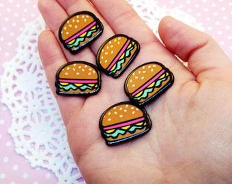 5pc Hamburger 26mm Kawaii Resin Fake Food Flatback Cabochon Scrapbook Decoden Craft DIY