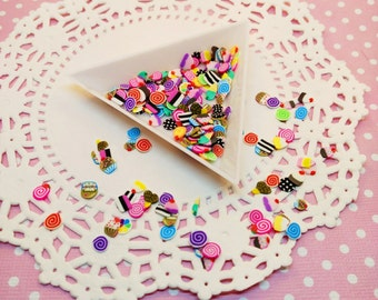 100pc Assorted Dessert Fimo Slices Kawaii Polymer Clay Nail Art Deco Cabochon Decoden Craft DIY