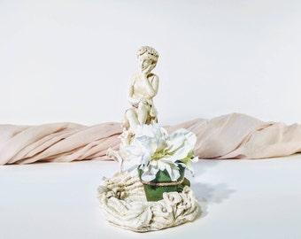 Fairy/ Garden sculpture/ White fairy sculpture/ Nymph/ Vintage fairy sculpture/ Vintage nymph/Vintage nymph sculpture