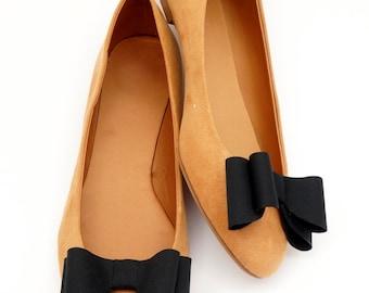 Black bows - shoe clips Manuu, shoe accessories, classic bows, elegant shoe clips