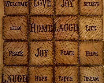 Reclaimed wood coasters with branded wording and without