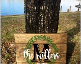 Last Name Established In (Year) Pallet Wood Sign - Wedding Gift - Home Decor