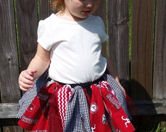 University of Alabama Crimson Tide Fabric/Tulle/Ribbon Skirt Accessorized with Matching Headbow