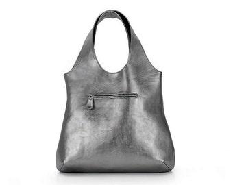 Hobo bag | Silver leather bag | Leather purse bag | Leather bag | Leather Tote | Shoulder bag | Silver bag | Big leather bag | Shopper bag