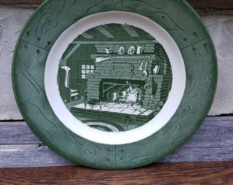 1950s Vintage China- Colonial Homestead by Royal- Dinner Plates- Green/White- Replacement China- Kitchen & Dining Serving- Americana- USA
