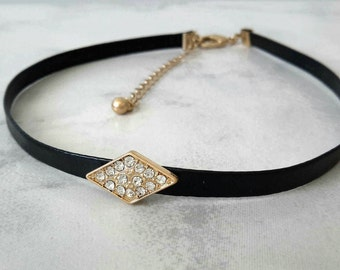 Choker Necklace, Choker, Leather Necklace, Black Choker Necklace, Chokers, Black Choker, Choker for Women, Necklace, Women Gift, Necklaces