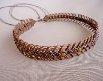 "macrame necklace / choker with tiger eye  beads - ""Cleopatra"""