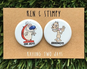 """Ren and Stimpy Pin Set - Buttons or Magnets, Vintage Nickelodeon, Gift, Cartoon 90s, Electric Fence, Best Friends,Cat, Dog - 1.25"""" or 2.25"""""""