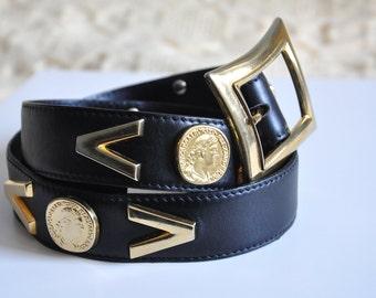 Vintage ESCADA leather belt, 80s black and gold belt, chunky leather belt, designer belt