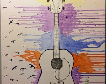 "Water Color Guitar Painting - ""Freebird"""