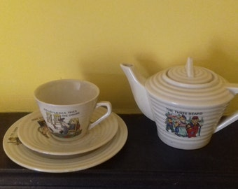 Vintage Art Deco Child's Miniature Nursery Tea Set Goldilocks and the 3 Bears