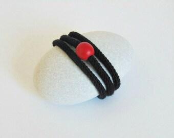 yarn bracelets yarn jewelry knitted bracelet knitt jewelry cotton bracelet boho bracelet  black for her black bracelet modern yarn black red