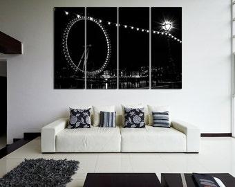 Large Wall Night London Cityscape Canvas BW Multipanel Canvas London View  Art Large  1-3-4-5 Panel Cityscape Print