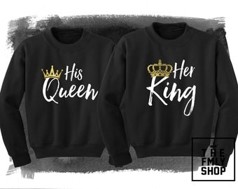 Her King His Queen Sweatshirt, Couple Sweatshirts, King Queen Sweatshirts, King Crown Sweatshirt, Queen Sweatshirt