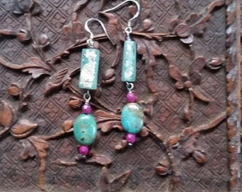 Earrings. Dangle. Ancient 2000 Year Old  Roman Glass. Aqua. Turquoise. Pink Glass Beads. Bohemian. Sterling.  Asymmertical