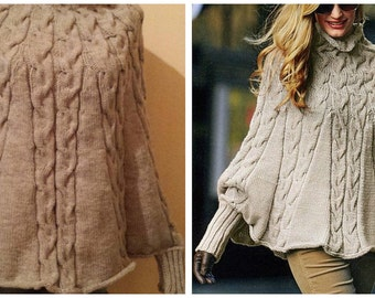 Women's poncho knitted winter.hand-knitted blouse