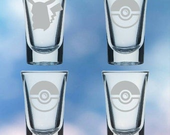 Set of 4 shot glasses inspired by anime and video games - permanently etched Pikachu