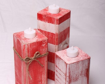 Wooden Candle Holders, Pillar, Tea Light, 4x4 Candle Holders, Christmas Gift, Holiday Decor, Home Decor, Rustic, Red and White Stripes