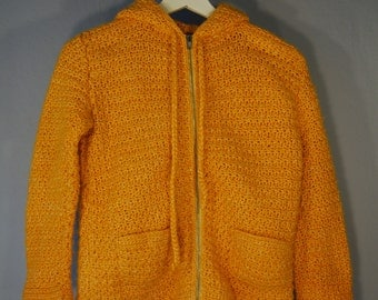True vintage of 80s children kids knitwear DIY handmade sweater hoodie hood